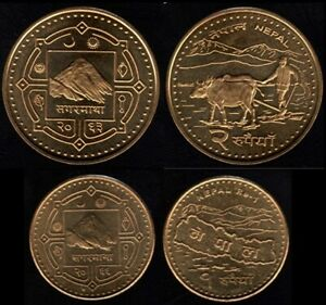 """""""NEW"""" Set of 2 NEPAL RUPEE COIN Brass plated Mount Everest"""
