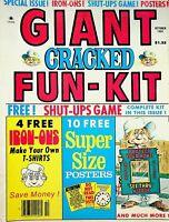 Vtg 1981 Giant CRACKED MAGAZINE Fun-Kit 4 Free Iron-ons 10 Super Posters m1271