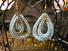 ARTSY TIN HAMMERED AND WEATHER PAINTED TEAR DROP CUT OUT EARRINGS