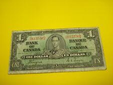 1937 - Canadian one dollar bill - $1 Canada note - RN6155562