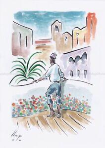 Llop - Ametlla des de Cova Gran - aquarel·la original 30x21