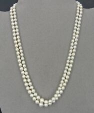 "Pearls Two Strand Graduated Size 14K White Gold Clasp Necklace 16"" Long"