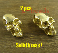 2pcs Skull brass double holes Lanyard Bead Paracord beads for Knife or EDC gear