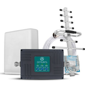 3G 4G LTE 850/1800/2100MHz Cell Phone Signal Booster 70dB 2G Mobile Repeater Kit