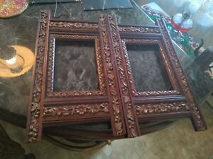 Vintage Pair of Carved Wood Leaves and flowers Rectangular Picture Frames