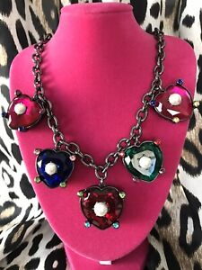 Betsey Johnson Bling Thing LARGE Jeweled Multi-Color Heart Crystal Necklace
