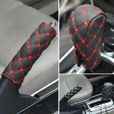 Red Car Faux Leather Gear Shift Knob Cover Hand Brake Cover Sleeve 2 in 1 Set