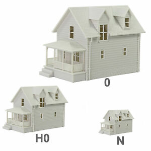 1pc O HO N Scale Model Blank House White Unassembled Architectural Building