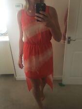 Miss Selfridge Size 10 Orange And White Tie-dye Dress