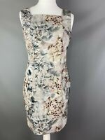H&M Size 16 Realistic Floral Dress Sheath Square Neckline Grey Neutral Wedding