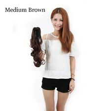 US 100%Natural Clip in hair extension Curly Straight Black Claw Ponytail LINKK