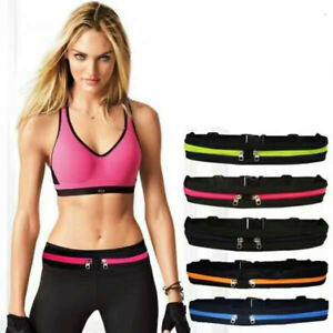 Runner Waist Belt Bag Pack Pouch Bum Sport Jogging Universal Dual Pocket Red