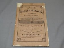 Vintage UNION Mowing Machine 1868 Thomas Dodge Worcester Mass Brochure 1868 OLD