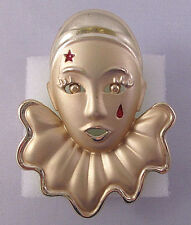 Gold Tone Metal Figure Head Pierrot Clown Harlequin w/Red Accents Brooch Pin