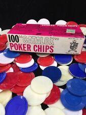 100+ Vintage Catalox Poker Chips In Box Red White & Blue Field MFG