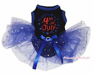Happy 4th July Black Cotton Top Blue Bling Star Tutu Pet Dog Puppy Cat Dress Bow