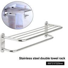 HK- Stainless Steel Wall Mounted Hotel Bathroom Towel Rack Holder Storage Shelf