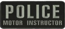 Police motor instructor embroidery patches 4x10 hook on back grey