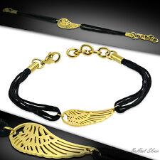 Damen Armband Kordelarmband Stoff Kordel Schwarz Engelsflügel Edelstahl Gold