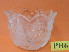 """MIKASA 4"""" BOWL CANDY DISH-CANDLE HOLDER GERMANY CHRISTMAS TREE SCENERY FROSTED"""