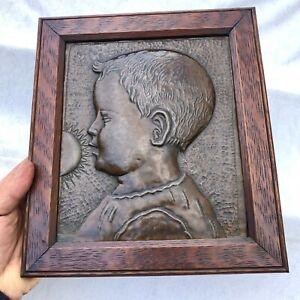 RARE ORIGINAL JOHN PEARSON (NEWLYN SCHOOL MASTER) COPPER CHILD PLAQUE