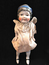 """1920s NIPPON CHARACTER ALL-BISQUE DOLL - 7-1/2"""" JOINTED DRESSED HEADBAND"""
