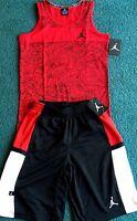 NWT Nike Air Jordan Boys S Red/Black/White Graphic Print Shorts Set Small 8