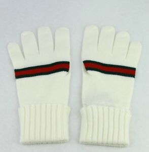New Authentic Gucci White Wool Gloves with GRG Web 294732 9066