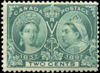 1897 Mint H Canada F Scott #52 2c Diamond Jubilee Issue Stamp