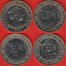 "Isle of Man set of 3 coins: 2 pounds 2019 ""75th Ann. of D-Day"" UNC"