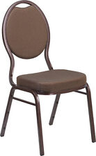 10 PACK Teardrop Stacking Banquet Chair in Brown Patterned Fabric w/Copper Frame