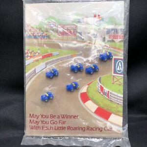 "Lot 6 VTG NOS Race Car Buttons Avon 1983 Blue Yellow Plastic .5"" NIP"