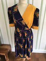 VINTAGE 60'S BLUE & YELLOW SILKY FLORAL MOD SCOOTER MINI DRESS UK 8-10 SMALL