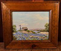 Vintage Original Oil Painting Landscape Barn Windmill Ruby N Wilson Wood Framed