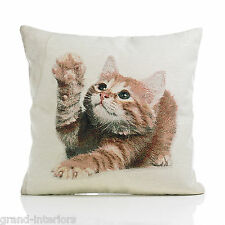 "Cat Kitten Cream Gold Tapestry Piped Cotton Blend Cushion Cover 18"" - 45cm"