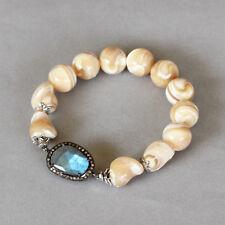 U&C Sundance Blue Labradorite White Cream MOP Diamond Pave .925 Silver Bracelet