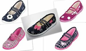 Girls canvas shoes Ballerina Pumps Plimsolls 9 10 11 UK New