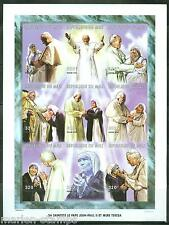 MALI  POPE  JOHN  PAUL II & MOTHER TERESA  SHEET OF NINE  IMPERFORATED  MINT NH