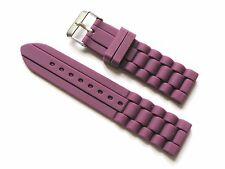 22mm Silicone Watch Band Strap - Purple with Stainless Steel Buckle