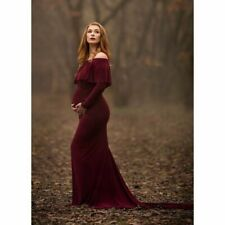 Off-shoulder Maternity Maxi Dress Long Stylish Clothes Sexy Photo Shoot Gown New