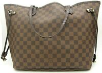 Authentic LOUIS VUITTON Neverfull MM Damier Ebene canvas tote bag France N51105