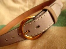 New Nwot Small 30 True Vtg 70s Smoke Gray Leather Stitched Hippie Belt Brass Buc