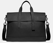 NEW Coach Men Business Briefcase Pebbled Leather Laptop Bag Crossbody Black