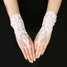 Bride Bridesmaid Beaded Wrist Fingerless Lace Floral Gloves Wedding Party Gloves