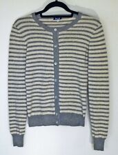 Splendid Pure Cashmere gray and beige striped sparkle cardigan sweater size S