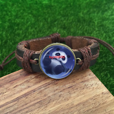 lovely panda Brown Glass leather & chord Bracelet charm -Unisex Adjustabl-SL833