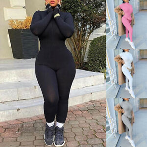Women Long Sleeve Bodysuit Bodycon Jumpsuit Yoga Sport Fitness Playsuit Romper