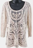 Ivory Semi-Sheer Netting Top w/Embroidery Sz M? 3/4 Sleeves Scoop Neck