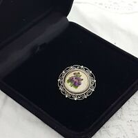 VINTAGE Needlepoint Floral Brooch Purple Flower Pansy Round Silver Tone Filigree