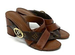 LOUIS VUITTON Monogram Lv Logo 2019y Sandals Heels #37 US 6.5 Brown Gold Leather